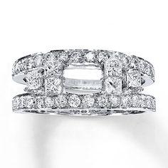 Diamond Enhancer Ring 1 1/6 ct tw Princess-cut 14K White Gold