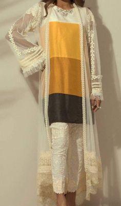 Kurti Women jacket over women traditional suit Long jacket over suit Stylish Dresses, Simple Dresses, Fashion Dresses, Pakistani Wedding Outfits, Indian Outfits, Pakistani Dresses, Stylish Dress Designs, Designs For Dresses, Kurta Neck Design