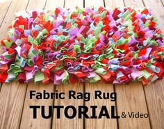 Fabric Rag Rug Tutorial and Video link por ljeans en Etsy