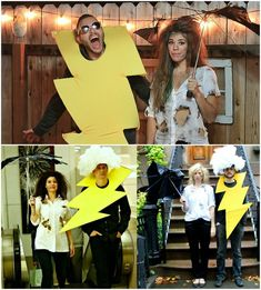 Paar Kostüme Fasching blitz-gelb-wolke-haare-baumwolle-hemd-kaputter-regenschirm