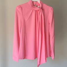 Pink Tie Neck Blouse Brand new, never been worn. No tags. Self tie neck, back zip closure. 100% polyester, machine washable. Relaxed fit. Chicwish Tops Blouses