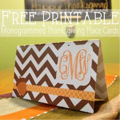 Free printable monogrammed Thanksgiving place cards from @you Got Personal