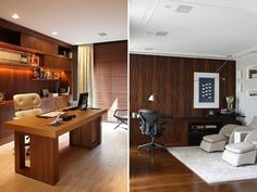 15 home offices com muita madeira e tons mais escuros, bem masculinos.