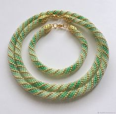 Bead crochet rope necklace and bracelet