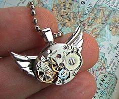 Steampunk Necklace Owl Jewelry Vintage Watch Movement Rustic Silver Small Pendant Handcrafted Original From Cosmic Firefly