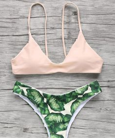 Sexy Fashion Leaves Print Multicolor Beach Bikini Set Swimsuit Swimwear