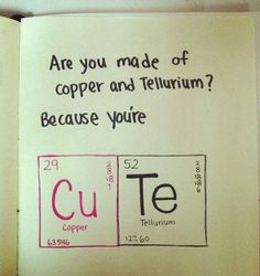 Are you made of copper and tellirium, because you're......