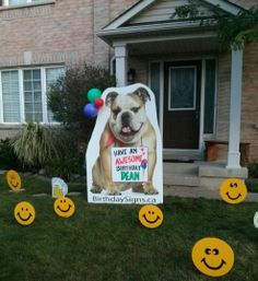 Rent Bull Dog Lawn Sign Choice Of Ornaments Birthdaysignsca Serving Toronto And Area Yard Ideas