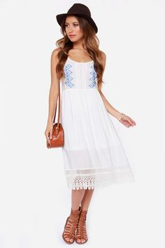 sweet beachy white and blue dress for summer