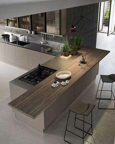55 modern kitchen ideas decor and decorating ideas for kitchen design 2019 26 Kitchen Room Design, Luxury Kitchen Design, Kitchen Cabinet Design, Luxury Kitchens, Home Decor Kitchen, Interior Design Kitchen, Home Kitchens, Kitchen Ideas, Kitchen Bars