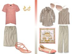 A simple Coral & Khaki summer wardrobe, with accessories