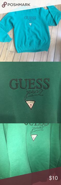 Guess jeans green sweater Super cute original guess jeans sweater. Dark green. This is super cozy and looks perfect paired with a light denim jacket! Does show sign of wear (flash photo shows more) FIRST PICTURE IS TRUE TO COLOR. Guess Sweaters