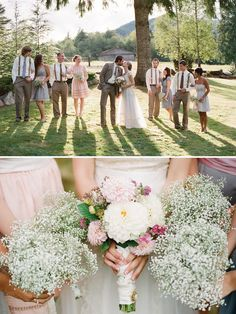 Love the top pic of the wedding party, but really love the baby's breath bouquets for bridesmaids!