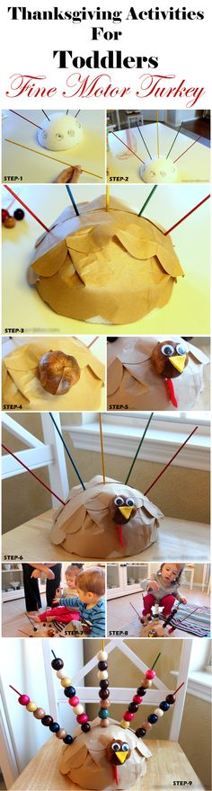Thanksgiving Activities For Toddlers - Fine Motor Turkey Crafts Ideas