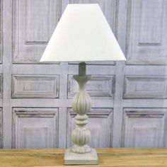Rustic Wooden Painted Lamp Base with Natural Linen Shade