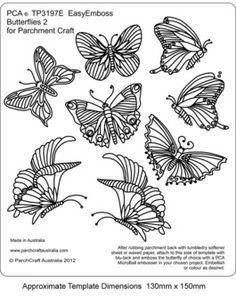 PCA TEMPLATES 3197E - BUTTERFLIES 2    PCA Easy Embossing Template - Butterflies 2. Use a micro ball tool to create butterflies within your designs.  Simply place the parchment over the template and follow the lines with a ball tool. PCA recommend lubricating the parchment with a tumble dryer sheet before embossing.