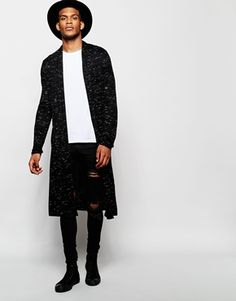 ASOS Extreme Longline Cardigan In Slub Fabric