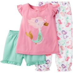 ***Child of Mine made by Carter's Baby Toddler Girl Shirt, Short and Pant Pajama Set 3 Pieces - Walmart.com