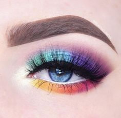 Rainbow colors are oh so fun! Featuring Makeup Geek Eyeshadows Rainbow colors are oh so fun! Featuring Makeup Geek Eyeshadows Rainbow colors are oh so fun! Featuring Makeup Geek Eyeshadows<br> Rainbow colors are oh so fun! Makeup Eye Looks, Eye Makeup Art, Cute Makeup, Makeup Inspo, Eyeshadow Makeup, Makeup Ideas, Eyeshadow Ideas, Star Makeup, Pretty Makeup