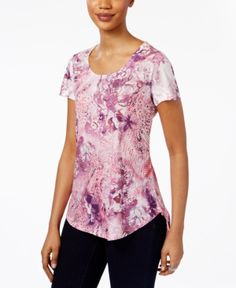 Style & Co Petite Embellished Printed Shirttail Top, Only at Macy's - Purple P/XL