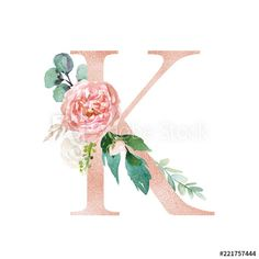 Floral Alphabet - blush / peach color letter K with flowers bouquet composition. Unique collection for wedding invites decoration and many other concept ideas. Flower Letters, Flower Frame, Monogram Letters, Monogram Wallpaper, Alphabet Wallpaper, Cute Wallpapers, Wallpaper Backgrounds, Iphone Wallpaper, Flower Typography