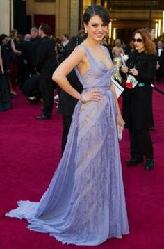 MILA KUNIS 2011 Oscar Lavender Red Carpet Dress Celebrity Dresses