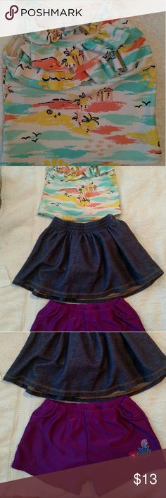 Packaged 3T Girls Summer Wear! Adorable top, skirt & swim shorts; Carter's top, Old Navy skirt, ? Swim Shorts misc Matching Sets