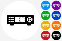 Cable Box Icon on Flat Color Circle Buttons vector art illustration