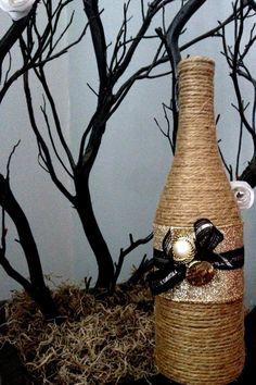 Glamorous Sparkle Gold and Black Upcycled Wine Bottle Jute Vase for Wedding, Shower, or Home Decor