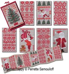 Perrette Samouiloff - 8 Red Card-size Christmas ornaments (cross stitch pattern chart)
