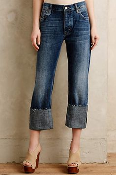 MiH Phoebe High-Rise Jeans High Blue Denim- low the jeans. Not with high heels for me though- lol Denim Cotton, Short Jumpsuit, High Rise Jeans, Fall Winter Outfits, Casual Chic, Stylish Outfits, What To Wear, My Style, Anthropologie