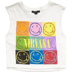 FOREVER 21 Nirvana Cropped Muscle Tank ($14) ❤ liked on Polyvore featuring tops, shirts, crop tops, blusas, cotton shirts, forever 21 tank tops, pattern shirt, crop top and print tank top