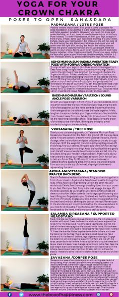 Here is a yoga sequence for your crown chakra. The crown chakra, Sahasrara, meaning 'thousand petals', is related to Chakra Yoga, Yoga Kundalini, Bikram Yoga, Yin Yoga, Vinyasa Yoga, Chakra Healing, Yoga For Chakras, Chakra Art, Namaste Yoga
