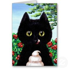 Funny Cat Roses Floral Creationarts Greeting Card