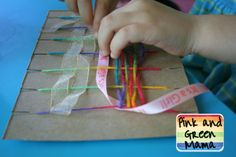 Pink and Green Mama: Mom's Homeroom  Easy weaving idea