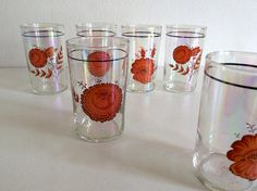 Vintage Tea Glasses  Small glasses  1970's by DioVintageShop