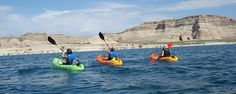 Kayaking Lake Powell and Glen Canyon. In addition to Glen Canyon, the water from the lake has flooded many side canyons that break off from it, including Moqui Canyon, Lost Eden Canyon and Anne's Canyon, for Uplake kayaking. One of the best ways to explore these side canyons is with a kayak. Downlake kayaking: Wahweap, Lone Rock, Warm Creek Bay and Padres bay.