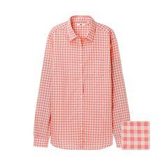 コットンローンチェックシャツ(長袖)A
