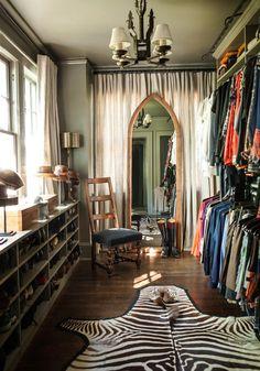 The best part is the zebra rug. I want a zebra rug. Dressing Room Closet, Closet Bedroom, Closet Space, Closet Mirror, Wardrobe Closet, Master Closet, Spare Room Dressing Room Ideas, Spare Room Walk In Closet, My Spare Room