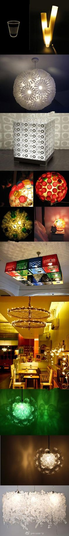 These beautiful lights are common with our old material transformation. Recycled Crafts, Diy And Crafts, Cool Lighting, Lighting Ideas, Unique Lamps, Light Project, Creative Advertising, Do It Yourself Projects, Beautiful Lights