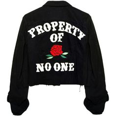 PROPERTY OF NO ONE BLACK DENIM JACKET ❤ liked on Polyvore featuring outerwear, jackets, denim jacket and jean jacket