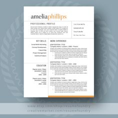 modern resume template the amelia by resumefoundry on etsy httpswww - Resume Templates On Word