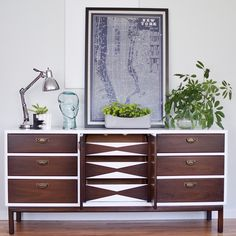 """""""A fun geometric design on the interior doors. Fresh and Modern Broyhill credenza painted in @benjaminmoore Advance and stained with @generalfinishes…"""""""