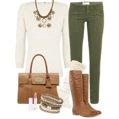 Olive skinny cords, boots and cute boot socks to coordinate with a neutral sweater. Add some great accessories.