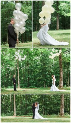 bride and groom first look with balloons | centerville tn