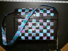 Peace Out duct tape woven purse