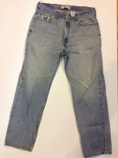 Levis 550 Relaxed Jeans Holes Stains Worn 35 X 32 Trashed Broken In Work Clothes #Levis #Relaxed