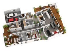 free floor plans modern home design architecture plan maker draw for houses Free Floor Plans, Modern Floor Plans, Home Design Floor Plans, Modern House Plans, Floor Design, Plan Design, Acadian House Plans, 3d House Plans, Garage House Plans