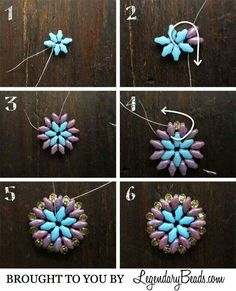 Summer Medallion Instructions - working with super duos is fast and easy. Another pictoral for earrings or pendant from Legendary Beads ~ Seed Bead Tutorials Two colors of Super Duos: 6 of COLOR A and 12 of COLOR B. 16 beads, firepolished Czech Glass or S Seed Bead Tutorials, Beading Tutorials, Seed Bead Jewelry, Bead Jewellery, Bead Earrings, Seed Beads, Jewlery, Beaded Bracelet Patterns, Beading Patterns