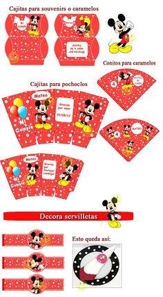 Kit Imprimible De Mickey Mouse - Rojo - $ 26,00 en MercadoLibre